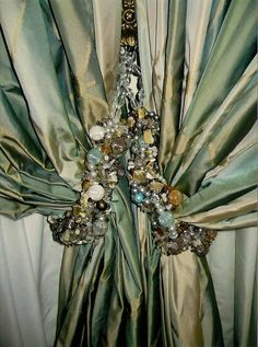 Handmade bead and stone tassel by Calissa Soft Furnishing. Curtain by Calissa Soft Furnishing. Window Bed, Window Drapes, Window Coverings, Drapes Curtains, Window Treatments, Valance, Stone Texture Wall, Fru Fru, Beautiful Curtains