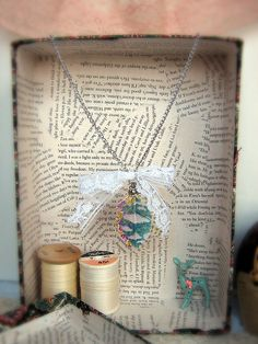 3 Feather Necklace with Lace Bow by TruleeDarling on Etsy, $9.99