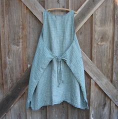 linen jumper pinafore apron dress in blue and by linenclothing on Etsy