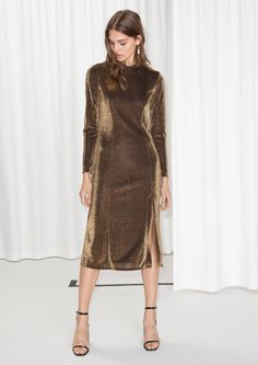 & Other Stories image 1 of Shimmery Midi Dress in Metallic Brown Long Sleeve Midi Dress, High Neck Dress, Take Me To Church, Robes Midi, Metallic Dress, Jumpsuit Dress, Ready To Wear, Style Inspiration, Clothes For Women