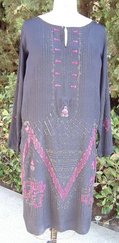 Reduced #1920s Original Deep Plum Long #Sleeve Dress/Gown Pink and Navy #Beads Si,  View more on the LINK: http://www.zeppy.io/product/gb/3/208056999/