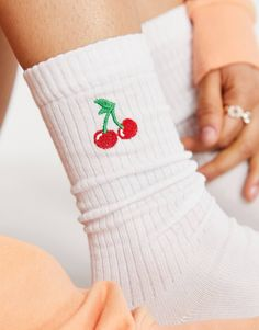ASOS DESIGN calf length rib socks with cherry embroidery in white   ASOS Asos, Diy Embroidery Designs, Diy Trend, Cute Socks, White Style, Leg Warmers, Hand Stitching, Calves, Spring Fashion