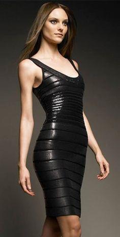 Herve Leger Black Metallic Scoop Round Neck Bandage Dress by IZZY55