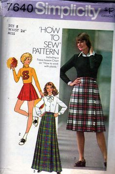 f726285d64 Vintage Sewing Pattern - 1976 Misses Pleated Skirt in Three Lengths,  Simplicity 7640 Size 10 Waist 25