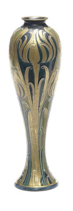 William Moorcroft.  'Green and Gold' a Macintyre Vase, circa 1903 | JV