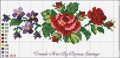 This Pin was discovered by Fot Cross Stitch Boarders, Cute Cross Stitch, Cross Stitch Rose, Cross Stitch Flowers, Cross Stitching, Cross Stitch Embroidery, Hand Embroidery, Modern Cross Stitch Patterns, Cross Stitch Designs