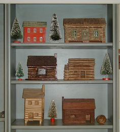 Vintage miniature log cabins