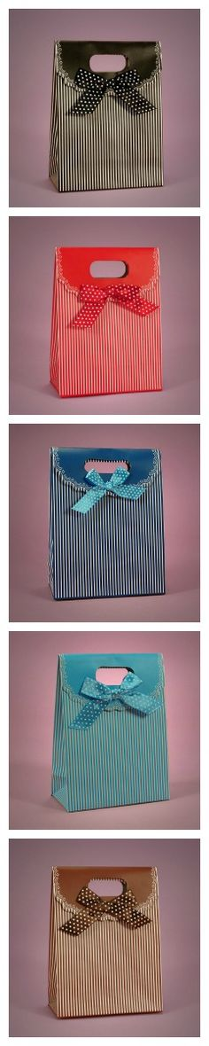 """Pinstripe Gift Bags (Repin to Win: Repin any image from our """"Repin to Win"""" board and win one hundred dollars in Paper Mart credit) http://pinterest.com/papermart/repin-to-win/"""