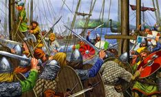 Viking warriors boarding an enemy vessel- by Johnny Shumate