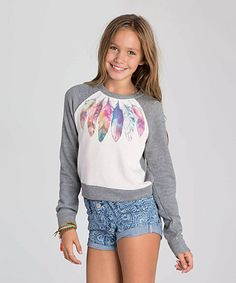 Love this Athletic Gray & White Rainbow Feather Sweatshirt - Girls by Billabong on #zulily! #zulilyfinds