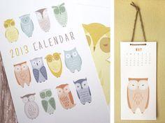 Owls - 2013 Wall Calendar. $20.00, via Etsy.