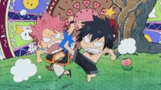 Natsu, Gray, fighting, funny, chibi, Lucy, gif; Fairy Tail