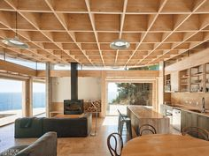 Lock your eyes on these 10 grid-style ceilings—adding geometric interest to projects that range from a boutique hotel in Poland to a world-fa. Interior Design Magazine, Magazine Design, Ceiling Grid, Open Ceiling, Waffle Ceiling, Iida, Ecole Art, Box Houses, Metal Pergola