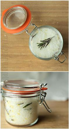 Rosemary Lemon Sea Salt recipe. I don't use salt much in cooking, but this sounds divine to have on hand in the kitchen.