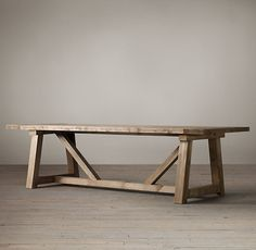 RH& Salvaged Wood Beam Rectangular Extension Table:Our salvaged beam wood tables are handcrafted of unfinished, solid salvaged pine timbers from buildings in Great Britain. Patio Table, Diy Table, Dining Room Table, Dining Rooms, Dining Area, Long Wood Table, Wooden Tables, Spool Tables, Farm Tables