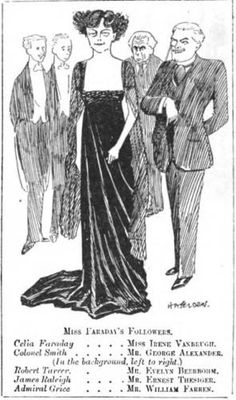 """Ernest Thesiger's first professional stage appearance, in """"Colonel Smith.""""  Caricature from Punch magazine, May 1909"""