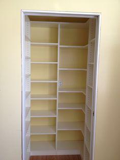PERFECT PANTRY Corner Pantry, Small Pantry Closet, Hall Closet, Small Kitchen Pantry, Kitchen Pantry Design, Small Deep Closet, Tiny Pantry, White Pantry, Kitchen Decor