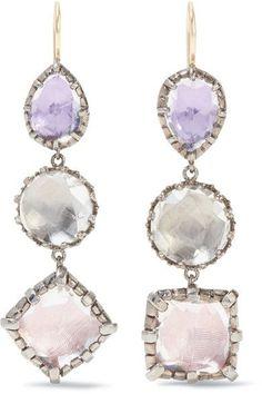 Larkspur & Hawk - Sadie Rhodium-dipped Quartz Earrings - Silver - one size