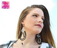 Chandelier earrings Statement earrings Black by MarKiJewelry