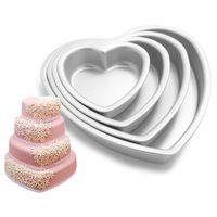JFBL venta Caliente Corazón De Aluminio Cake Pan Fondant Molde de La Magdalena Del Mollete Decoración Latas Para Hornear Herramienta