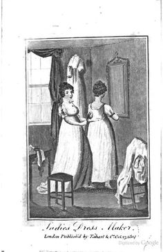 The Book of Trades, Volume III, by Charles Squire, from 1804. Pages 36-42: Ladies' Dress-Maker, includes an image and information of the draping and dressmaking process.