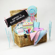 Baby Shower Party In A Box Lacking inspiration? Check out our Baby Shower in a box… Baby Shower Signs, Baby Shower Games, Baby Shower Parties, Shower Party, Baby Party, Party Box, Wicker Hamper, Plastic Champagne Flutes, Metallic Balloons