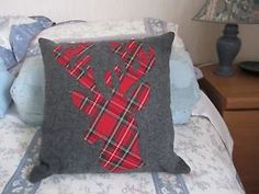 Hand-crafted-Stags-Head-Cushion-Cover-felted-wool-cotton-14-16