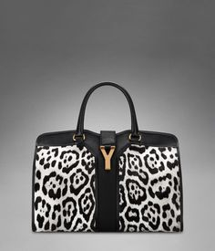 Medium YSL Cabas Chyc in White & Black Leopard Printed Cowhide