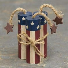 Firecrackers are made from wood painted in red, white and blue. They are tied together in a bundle of three with a jute bow, and each one has a jute 4th July Crafts, Fourth Of July Decor, 4th Of July Decorations, July 4th, Americana Crafts, Patriotic Crafts, Summer Crafts, Holiday Crafts, Crafts For Kids