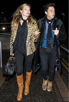 Kate Moss wearing an animal print jacket