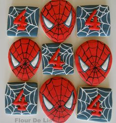 Spiderman Cookies, by Flour De Lis Bakery, red, Black No Egg Cookies, Cookies For Kids, Fancy Cookies, Iced Cookies, Spiderman Cookies, Superhero Cookies, Superhero Cake, Spiderman Theme, Square Cookies