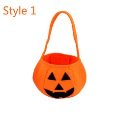 Halloween Pumpkin Tote Bag Candy Container Handbag Trick or Treat Kids Party…