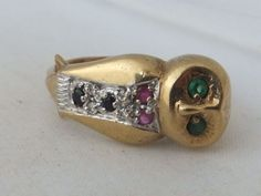 Fine novelty Emerald,Ruby,Sapphire & Diamond owl gold ring