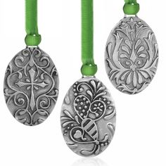 Old Forge Pewter Oval Ornament 3 PC Set