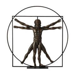 Leonardo da Vinci: Vitruvian Man Figurine. Inspired by the Da Vinci's Vitruvian Man. Da Vinci viewed the human body as a reflection of the universe. The study of ideal proportions illustrates the mingling of art and science during the Renaissance perfectly. #davinci #vitruvianman