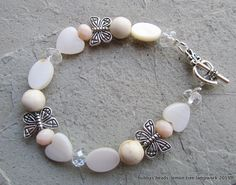 Mother of pearl, howlite, crystal & butterfly bracelet. www.facebook.com/bubbasbeads