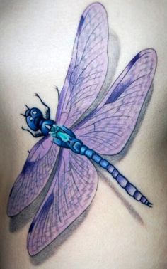 My Absolute favorite colors, purple & blue Dragonfly tattoo.