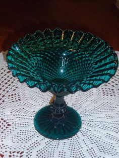 Rare Teal EAPG Jeanette Glass Diamond Point Compote by PinkieUp