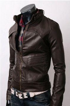 Men Brown Leather Jacket  men slim biker Leather @charles elliott Schoenfeld Ellenburg Taylor