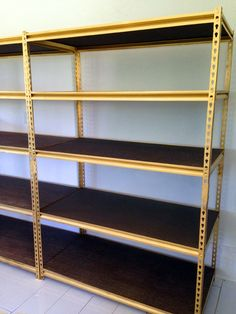 spray paint inexpensive shelving gold