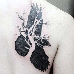 Raven And Dried Branch Of Tree Tattoo Male Back
