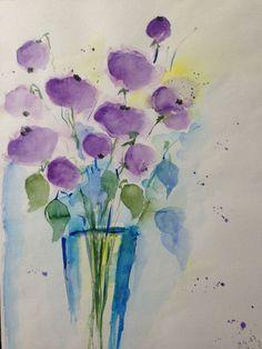 Aquarell Blumenstrauß Blumen watercolour Flowers Malerei Kunst lila eBay