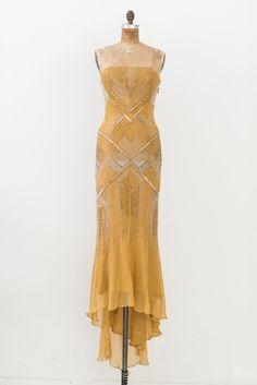 J Mendel Marigold Silk Beaded Gown - S