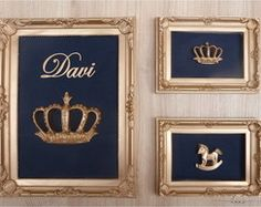 Trio de quadros Coroa azul marinho