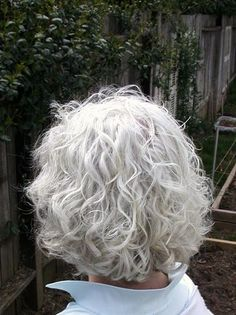 Image result for mid length gray hair curly