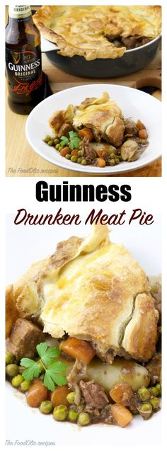 Drunken Guinness Meat Pie with a rustic thick crust to celebrate St-Patrick's day this year? A pie filled with tender meat, carrots, onions and green peas. A perfect pairing to a cold Guinness! #st-patrick's day #meatpie #guinness
