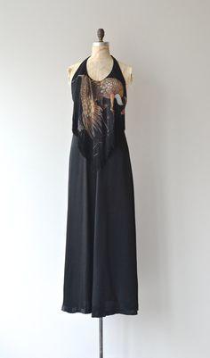 Night Bird dress vintage 1970s dress 70s fringe by DearGolden