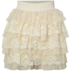 Jolie Moi Lace layered skirt (25 CAD) ❤ liked on Polyvore featuring skirts, bottoms, saias, jupes, cream, women, short brown skirt, short tiered skirt, tiered lace skirt and double layer skirt