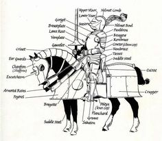 diagram of armor for knight and his horse. The peytrel is sometimes poitrel or peitrel.