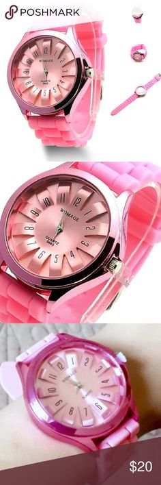 """Silicone Quartz Sports Style Watch Silicone Quartz Sports Style Watch, in A Light Pink Color.                                                                                   8 Hole Adjustable.                                                         Watch band material: Silicon Case material: Stainless Steel Total length: 24cm/9.44""""(approx) Fit Wrist: 17-22cm/6.69""""-8.66""""(approx) Belt Width: 2.0cm/0.78""""(approx) Watch Face Size: 4 x 4cm/1.57""""x1.57""""(approx) Accessories Watches"""